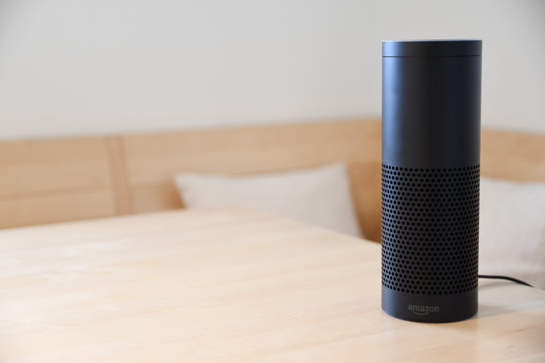 amazon voice device on table